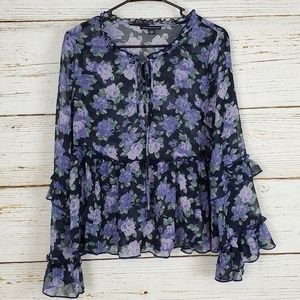 American Eagle Outfitters Rose Print Blouse